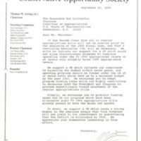 Letter to Bob Livingston from Dave Weldon and others, September 22, 1995