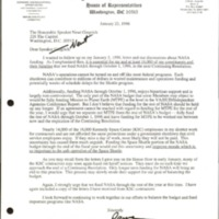 Letter to Newt Gingrich from David Weldon, January 23, 1996&lt;br /&gt;<br />