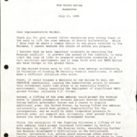 Letter to Dave Weldon from President Bill Clinton, July 13, 1995
