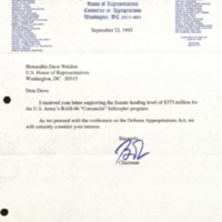 Letter to Dave Weldon from Bob Livingston, September 22, 1995